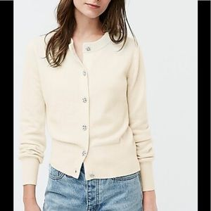 J crew cashmere sweater with jeweled buttons